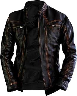 Aus Eshop Mens Vintage Brando Biker Cafe Racer Motorcycle Leather Jacket Collection