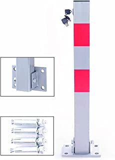 UKB4C Square Heavy Duty Folding Bolt Down Security Parking Post Bollard Entrance Driveway With Lock /& Bolts