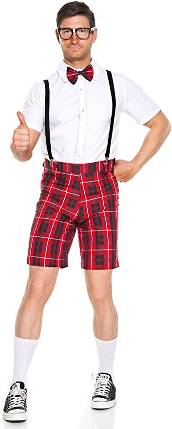 TARTAN SCOTTISH SUSPENDERS RED BRACES MENS ADJUSTABLE FANCY DRESS COSTUME NERD