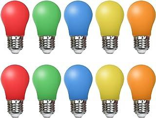 Paquete de 10 bombillas de colores LED de 1,5 W, E27 k45, 45 x 85 mm, 220 V CA, LED de colores surtidos, rojo, verde, azul, naranja, amarillo