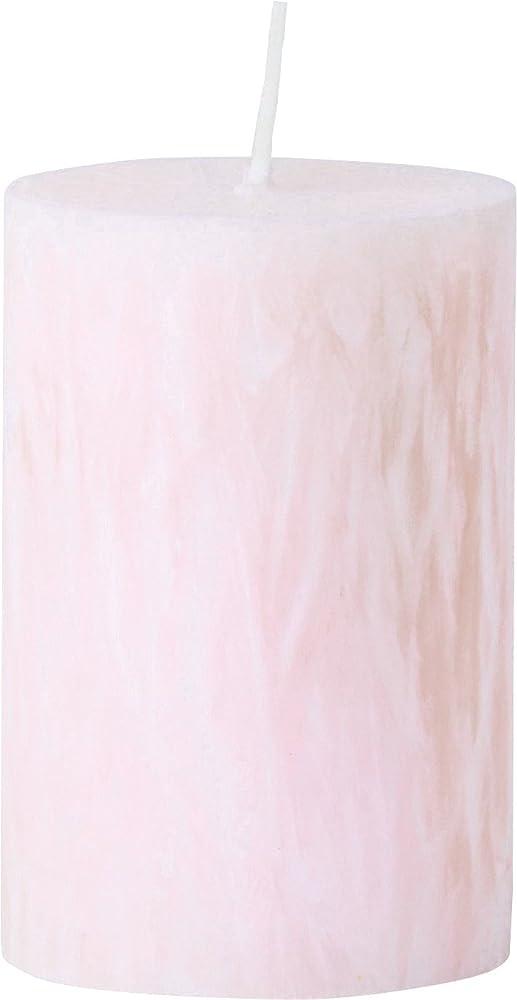 カメヤマキャンドルハウス パームマーブルピラーキャンドル 直径5cm×高さ7.5cm シェルピンク
