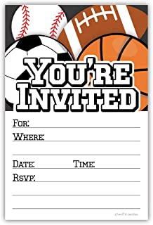 Sports Party Invitations (20 Count) with Envelopes - Football, Soccer, Baseball and Basketball