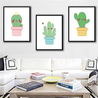 Style Simple Tableaux Dessin Animé Cactus Vert Tableau Tableaux Decoration Murale Art Poster Decoration Photo Image 3 Pièc...