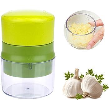 YOUYIKE Prensa Ajos, Garlic Press Mincer - Prensa de ajos, Apta para lavavajillas, con Recipiente de Almacenamiento, Cortador de ajos Inoxidable, ajos y Nuez