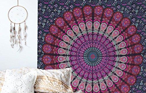 raajsee Tapiz de algodón indio púrpura mandala para colgar en la pared, estilo hippie, bohemio, manta de playa, yoga y meditación