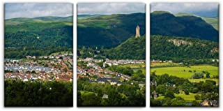 Gracelapin Canvas Wall Art Decor, Stirling, Scotland and The William Wallace Monument scotlands and Printed Oil Painting Home Decoration- 3 Panels