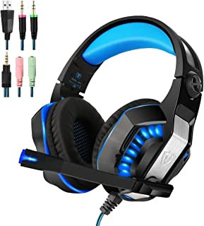 PS4 Gaming Headset | Xbox One Headset |Xbox One S Headset with Microphone VOTRON Over Ear Stereo Gaming Headphones with LED Light Noise Reduction for Xbox One PS4 PC Mac iPad PSP Headphones (blue)