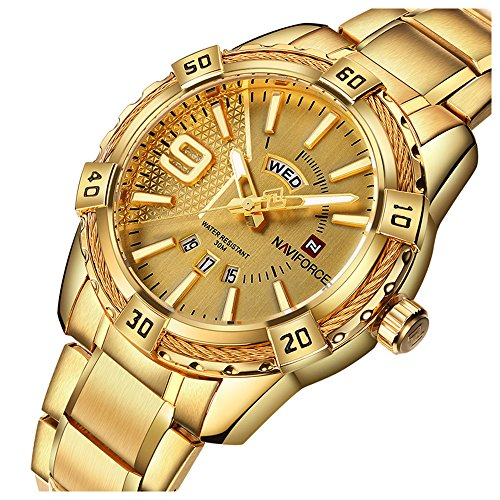 Men Gold Plated Analog Quartz Waterproof Stainless Steel Wrist Watch with Classic Design Day and Date (Gold)