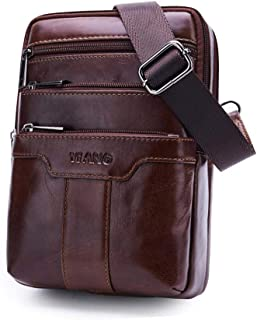 Sling Bag For Men, Leather Shoulder Crossbody Chest Pack, Outdoor Messenger Bag para Celular, Bolso, Tableta, Pequeño Portátil
