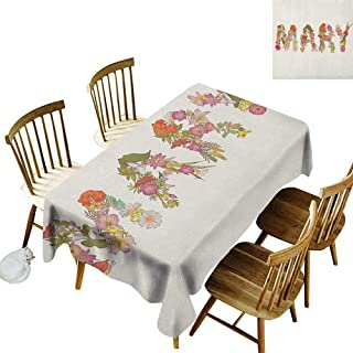 Fashion Tablecloth W52 x L70 Mary Blossoming Flowers with Daisies Roses and Poppies Traditional Well Known Girl Name Multicolor Great for Traveling More