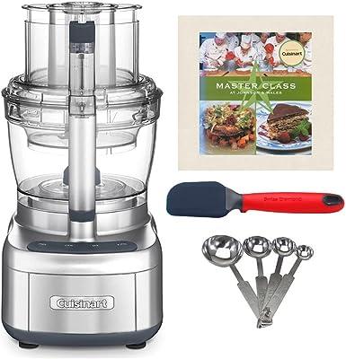 Cuisinart Elemental FP-13DSV 13-Cup Food Processor (Silver) with Spatula, Measuring Spoon Set and Cookbook Bundle (4 Items)