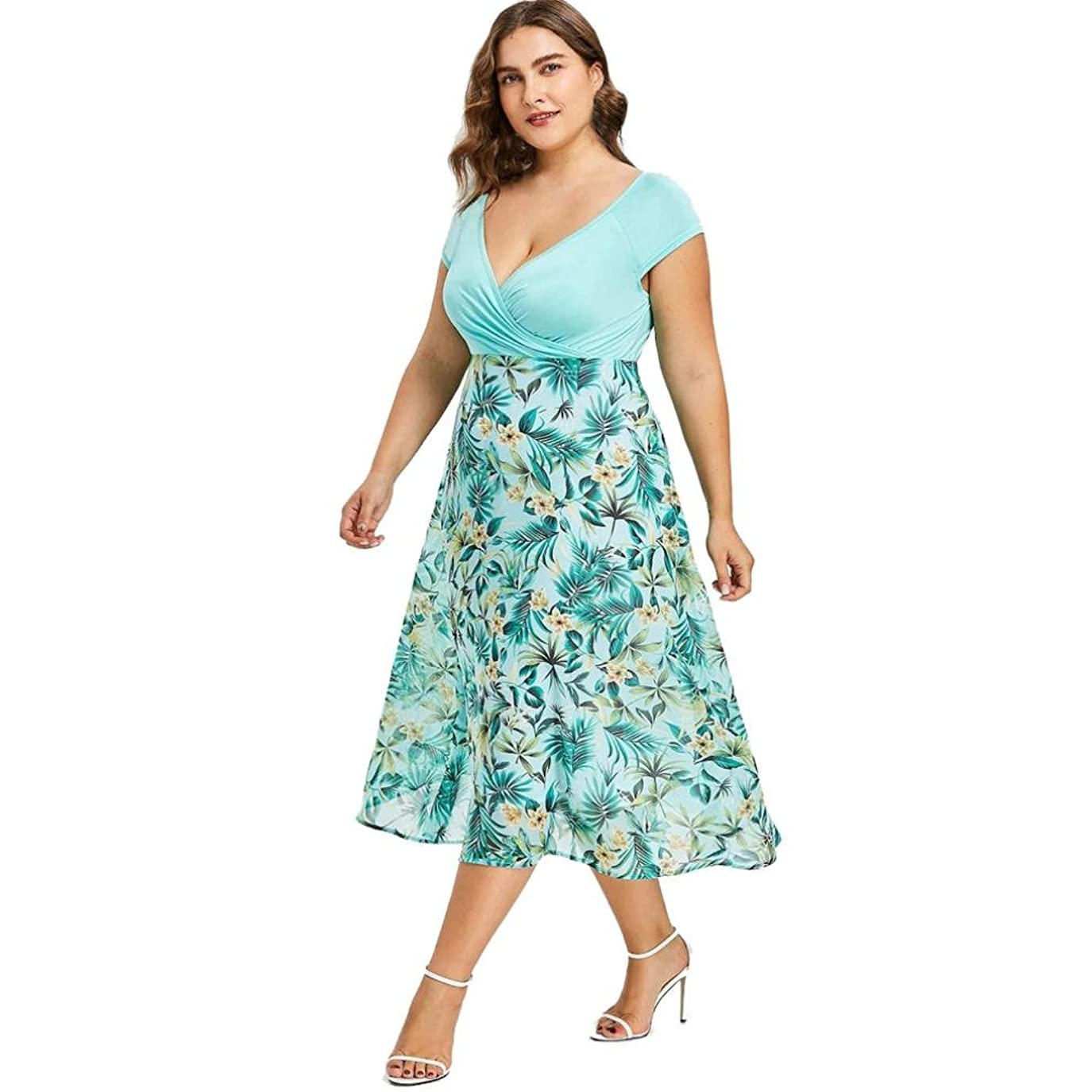 販売員味わう力SakuraBest Women V Neck Wrap Chiffon Short Sleeve Midi Prom Dress Plus Size