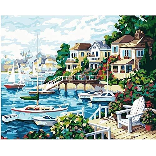 Vanzelu Frameless afbeelding op Wandacrylschilderij door de cijfers, die door een uniek geschenk van de cijfers kleuren door cijferlijst kenmerken 40x50cm