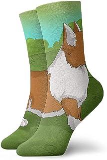 Kevin-Shop, Cartoon Corgi Dog Tobillo Calcetines Casual Cosy Crew Calcetines para Hombres, Mujeres, niños