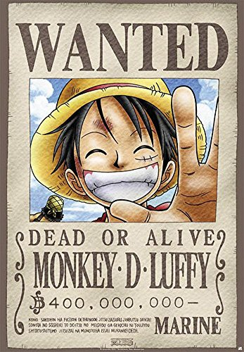 Close Up One Piece Poster Wanted Monkey D. Luffy (68cm x 98cm)