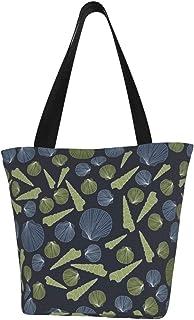 Einkaufstaschen, Muscheln mit marineblauem Hintergrund, Segeltuch, wiederverwendbar, faltbar, Reisetasche, groß und langlebig, robuste Einkaufstaschen