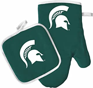 Pro Specialties Group Oven Mitt and Pot Holder Set - Barbeque BBQ Kitchen Backyard Outdoors - NCAA - Michigan St Spartans