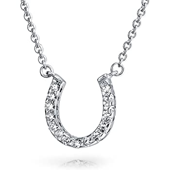 Horseshoe Necklace Pendant Round Cubic Zirconia 925 Sterling Silver Choose Color Horse Shoe