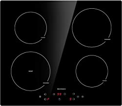 Induction Cooktop, ECOTOUCH 4 Burners Built-in Induction Cooker 24 inch, Smoothtop Vitro Ceramic Surface Electric Cooktop with Booster Burner INDH604B