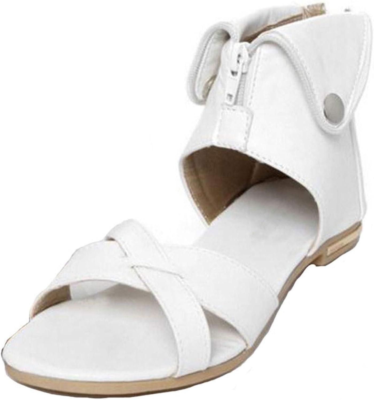 Flat Gladiator Sandals 2016 Summer Ladies Slip On shoes Plus Size Black Beige White Brown