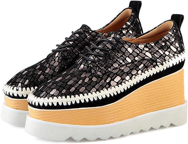 YAN Compensées Chaussures en Cuir Plate-Forme Chaussures déodorant Faible-Top Décontracté Chaussures Lacets Chaussures de randonnée Mode Mocassins,A,38