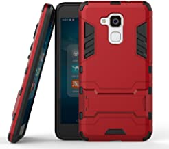 Case for Huawei Honor 5C / Honor 7 Lite (5.2 inch) 2 in 1 Shockproof with Kickstand Feature Hybrid Dual Layer Armor Defender Protective Cover (Red)