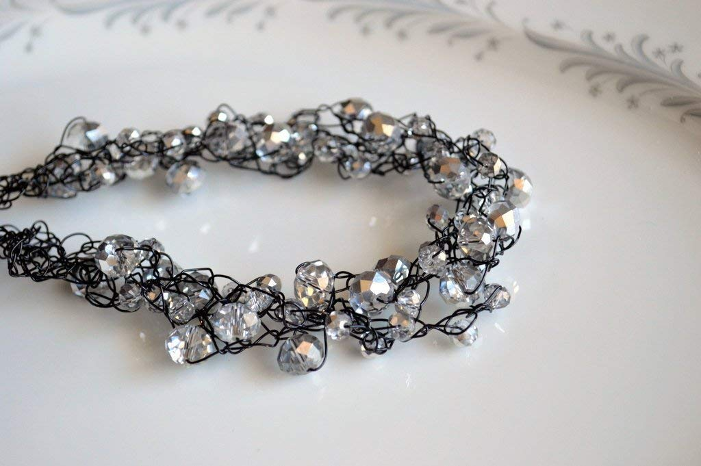 Crystal and Black Necklace Cheap SEAL limited product mail order sales Crochet Wire