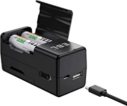 EBL Rechargeable AA/AAA Ni-MH Battery Charger with 2 USB Output Can be Used as a Portable Charger, Portable Smart Battery Charger with Over-charge Protection