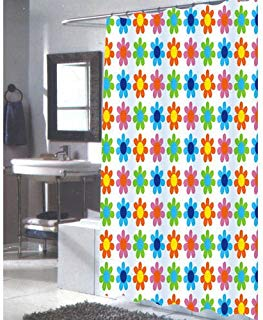 Carnation Home Fashions 100-Percent Polyester Fabric 70 by 84-Inch Shower Curtain, X-Long, Abbie, Multi Color Print