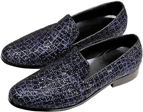 Rui Landed Conduire Mocassins pour Hommes Bateau Mocassins Slip on Style Ox en Cuir Luxueux Glitter Personnalité Gaufrage Boîte de Nuit (Couleur   Bleu, Taille   39 EU)