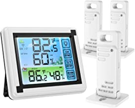 Brifit Indoor Outdoor Thermometer, 3 Sensors Digital Wireless Hygrometer, Room Thermometer Humidity Meter with Touchscreen...