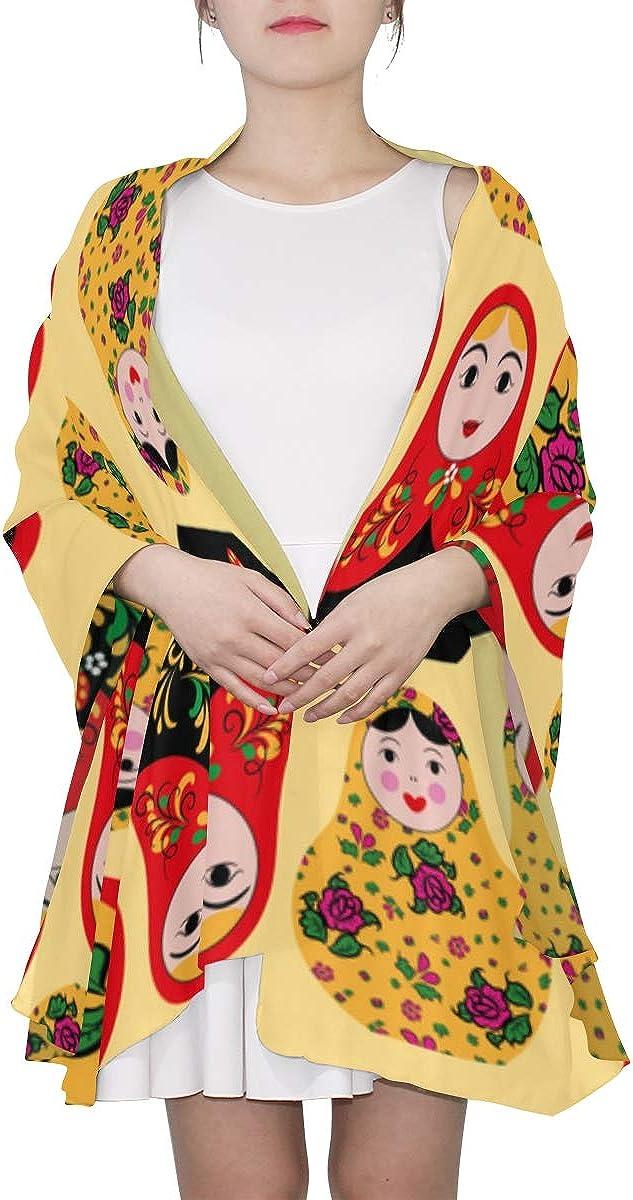 Russian Doll Matryoshka Folk Unique Fashion Scarf For Women Lightweight Fashion Fall Winter Print Scarves Shawl Wraps Gifts For Early Spring