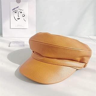 SHENTIANWEI PU Leather hat Beret Children Four Seasons Korean Wild Japanese Painter Cap Tide British Retro a Generation of Fat (Color : Turmeric, Size : One Size)