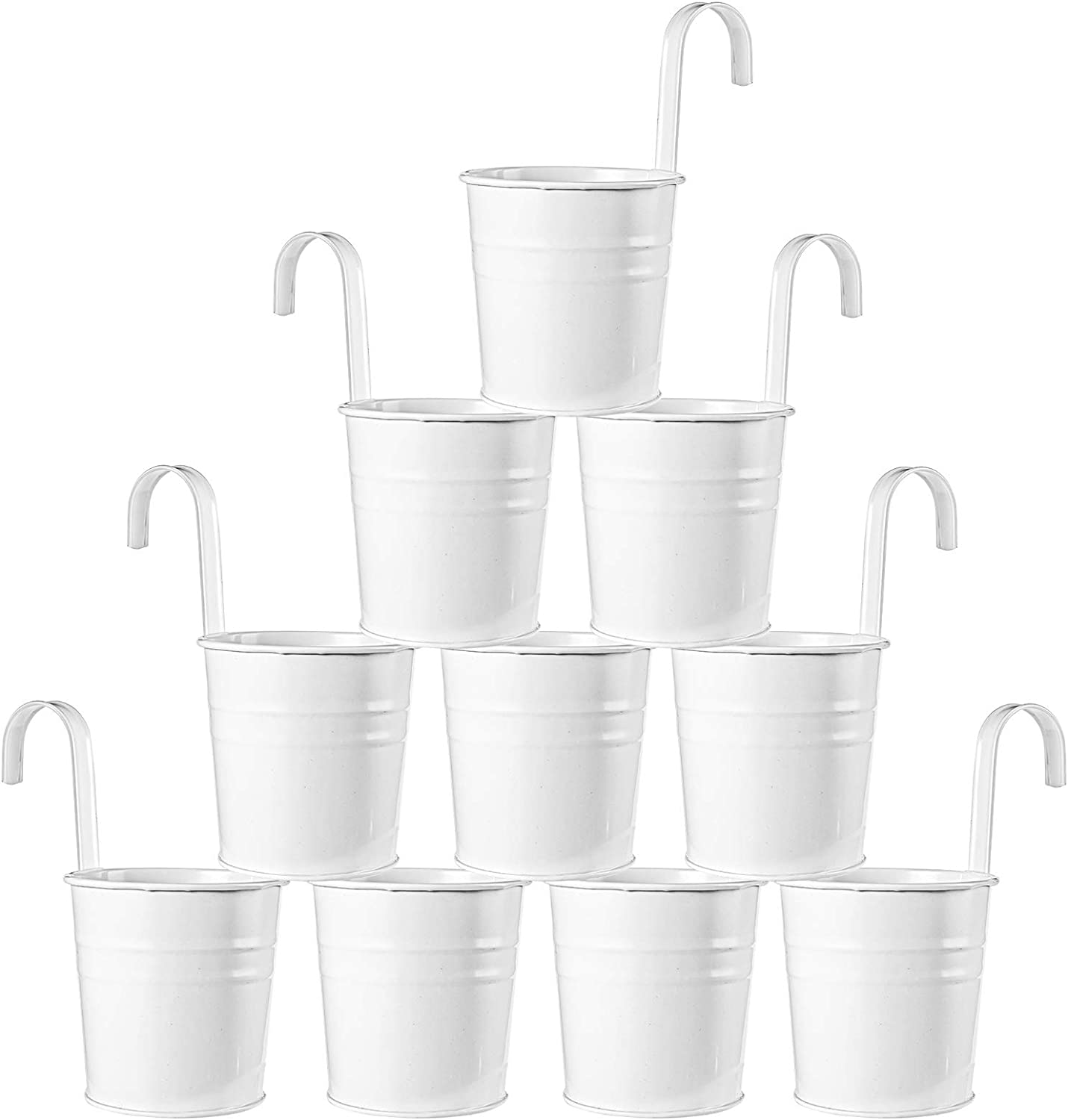 Price reduction Foraineam 10 Pcs Hanging Flower Pots Cheap mail order sales Metal Balcony White Bucket