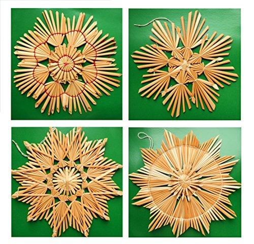 Helmecke & Hoffmann 4er-Set große Sterne aus Stroh | Weihnachtsdeko Strohsterne Christbaumschmuck Baumbehang | Ø ca. 14,5 cm