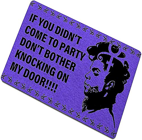 Funny Front Door Mat Outdoor Prince Doormat, if You Didn'T Come to Party Don't Bother Knocking on My Door, Retro Style Carpet Mat Non-Fading Non-Slip Decorative Door Mat (40x60cm)