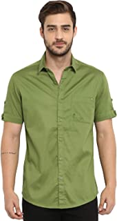 Mufti Men's Solid Slim Fit Casual Shirt (MFS-9874-H-04_Green_5XL)