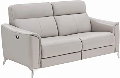 Benjara Leatherette Sofa with Power Reclining Mechanism and Metal Legs, Gray
