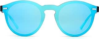Polarized Rimless Sunglasses Reflective One Piece Round Mirrored Eyeglasses for Men Women