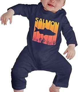 Newborn Infant Baby Girls Boys Romper Jumpsuit Vintage Retro 1980s Salmon Fish Cotton Long Sleeve Baby Clothes