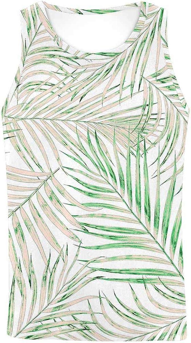 InterestPrint Men's Athletic Compression Under Base Layer Sport Tank Top Leaf of Palm Tree L