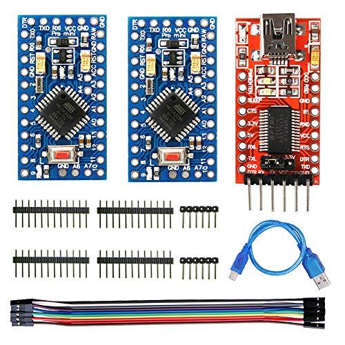 WayinTop 2 Stücke Pro Mini Modul 3,3V 8MHz ATMEGA328P Entwicklerboard für Arduino + FTDI Serial Adapter FT232RL USB zu TTL Adapter Modul 3,3V 5V + USB zu Mini 5Pin Kabel + Jumper Wire