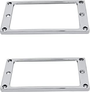 Guyker 2Pcs Pickup Mounting Rings for Humbucker - Metal Pickups Cover Frame Flat-Top Set Replacement Electric Guitar or Bass (Chrome)
