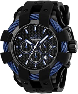 Men's Bolt Stainless Steel Quartz Watch with Silicone Strap, Black, 26 (Model: 23868)