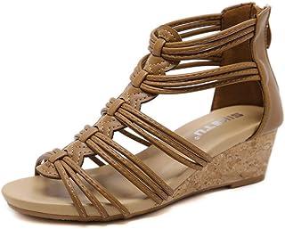 06991f2254d7fa WDDqzf Tongs Nouvelles Sandales pour Femmes_2019 Nouvelles Sandales pour  Femmes Compensées De Style Romain avec Une