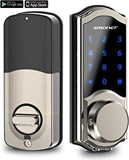 [2020 Newest] Smart Door Lock, SMONET Smart Deadbolt Bluetooth Keyless, Touchscreen Enable Mechanical Keys, Auto Lock, Remote Sharing, Send Ekeys, Free APP Monitoring, for Home,Hotel,Apartment, Silver