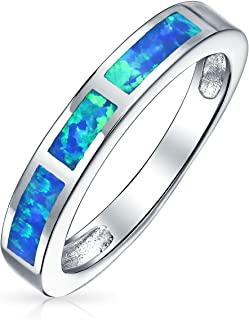 Geometric Eternity Blue Or Pink Created Opal Inlay Stackable Band Ring For Women October Birthstone 925 Sterling Silver