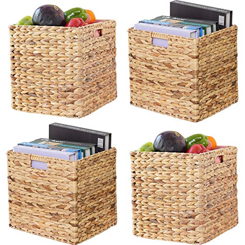 VK Living Foldable Handwoven Water Hyacinth Storage Baskets with Iron Wire Frame Wicker Cube Baskets Rectangular Laundry Organizer Totes for Bedroom, Living Room,Nursery Room, Shelves, Pantry 4 Pack 12x12x12