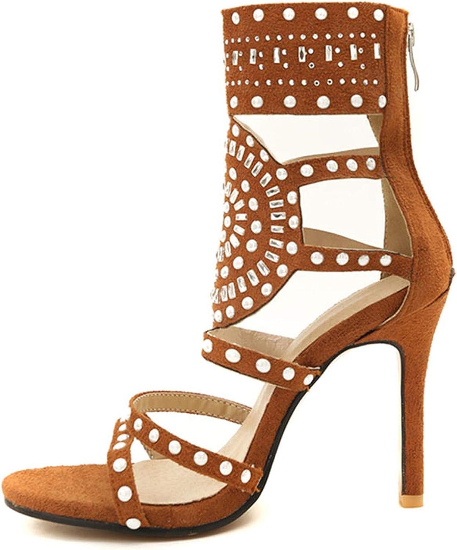 Alex Kuts High Heel Sandals Zipper Thin Heel Gladiator Sandals Woman Ornate shoes Office Footwear,Brown,10.5