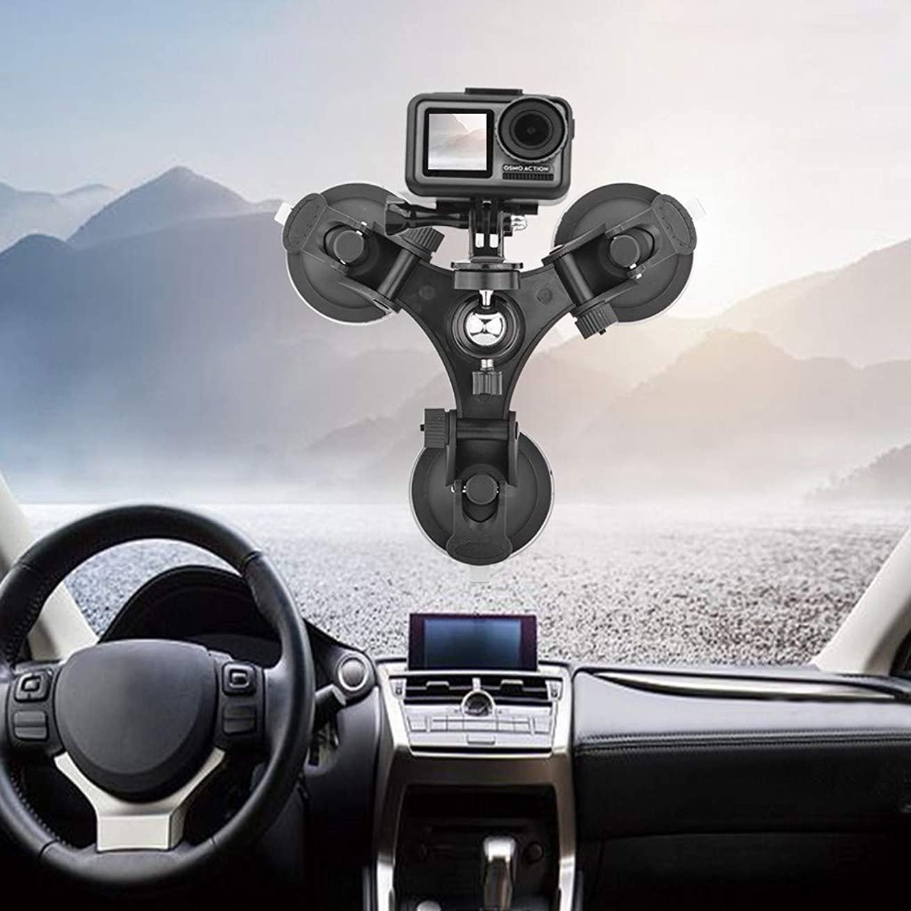 FGDJEE Suction Cup Car Holder Mount for DJI Osmo Pocket Car Glass Sucker Holder Driving Recorder Tripods DJI Osmo Action Accessories